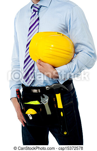 Cropped image of a man with safety helmet - csp15372578