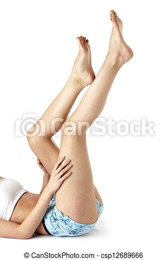 official photos 038dd dbc7b cropped image of a young woman exercising with feet in air - csp12689666