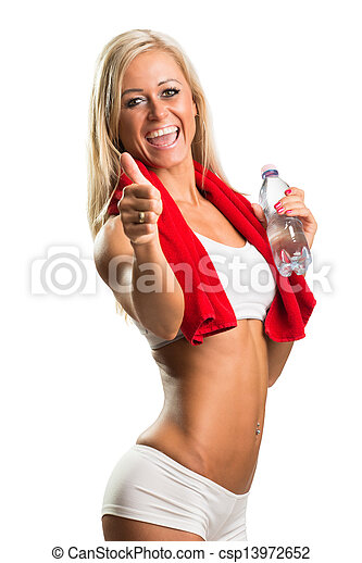 Cropped view of an attractive young woman holding a towel and water bottle against a white background - csp13972652