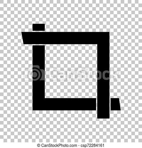 Cropping with corners. Image editor sign. Black icon on transparent background. Illustration. - csp72284161