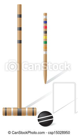 croquet, apparecchiatura, vettore - csp15028950