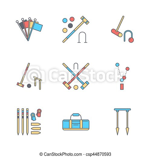 Croquet Sport Game Vector Line Icons Ball Mallets Hoops Pegs