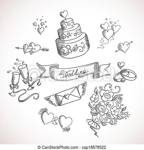 croquis, éléments, conception, mariage - csp18878522