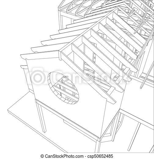 Croquis, 10., créé, maison, eps, arrière-plan., vecteur, 3d., blanc ...