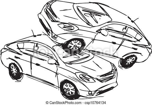 Croquis accident voitures isol illustration deux arri re plan vecteur blanc - Coloriage cars accident ...