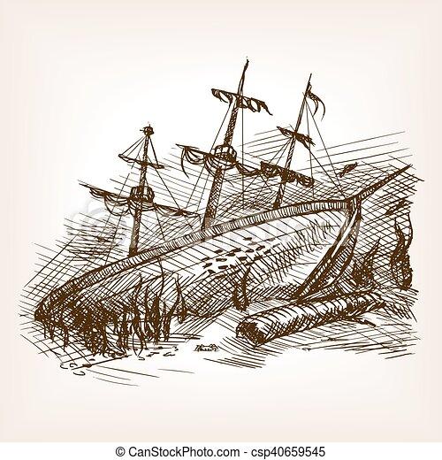 Croquis Ancien Voile Demoli Vecteur Bateau Gravure Croquis Ancien Vieux Illustration Voile Demoli Style Main Canstock