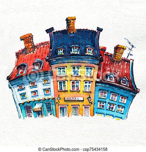 croquis, aquarelle, copenhague, nyhavn, denmark. - csp75434158