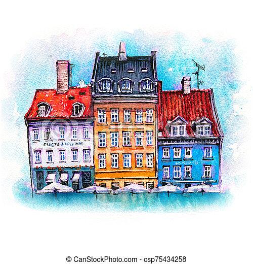croquis, aquarelle, copenhague, nyhavn, denmark. - csp75434258