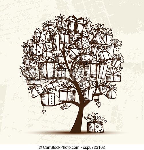 Croquis cadeau arbre bo tes conception ton - Croquis arbre ...