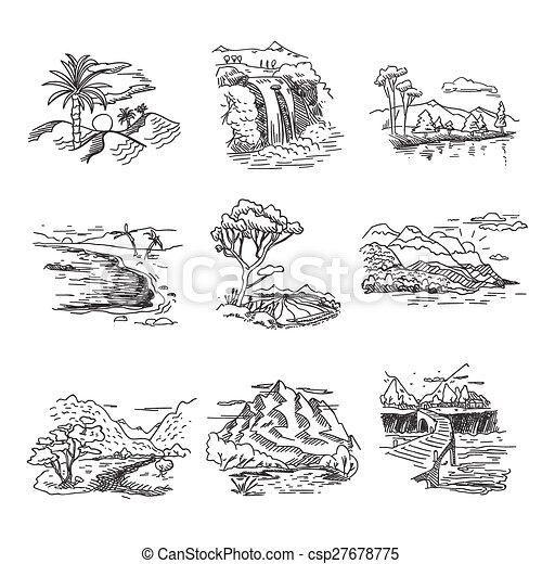 croquis, collines, nature, griffonnage, illustration, main, chute eau, traite, forêt, mer, soleil, dessiné, rugueux, paysage - csp27678775