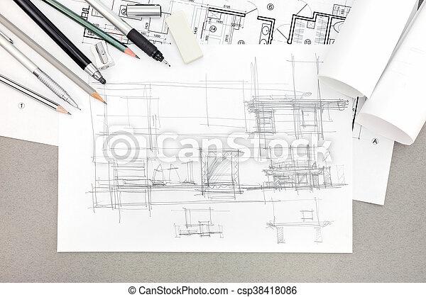 croquis, concept, rénovation, architectural, maison, outils, dessin