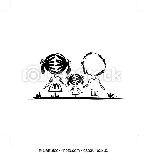 croquis, conception, ton, famille - csp30163205