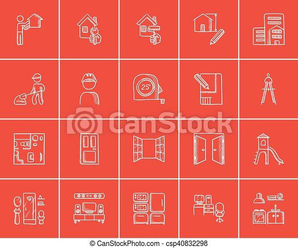 croquis, construction, set., icône - csp40832298