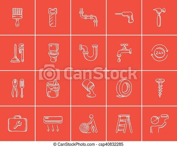 croquis, construction, set., icône - csp40832285