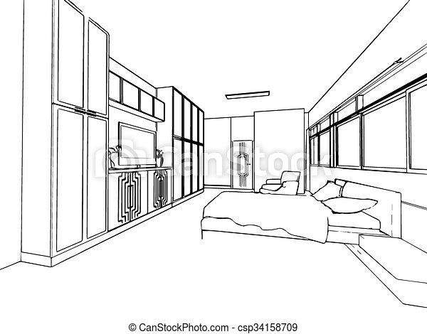 Croquis, Contour, Maison, Perspective, Intérieur, Dessin   Csp34158709