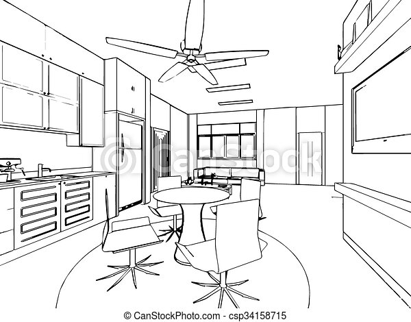 Croquis, contour, maison, perspective, intérieur, dessin ...