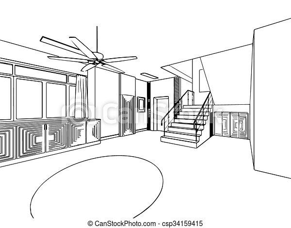 Croquis, contour, maison, perspective, intérieur, dessin. Croquis ...