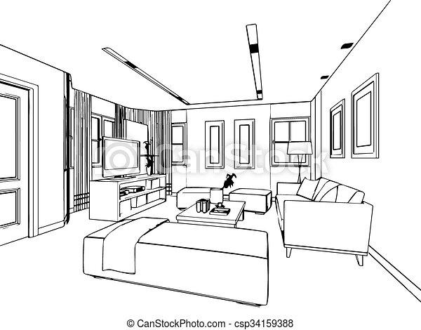 Croquis, Contour, Maison, Perspective, Intérieur, Dessin   Csp34159388