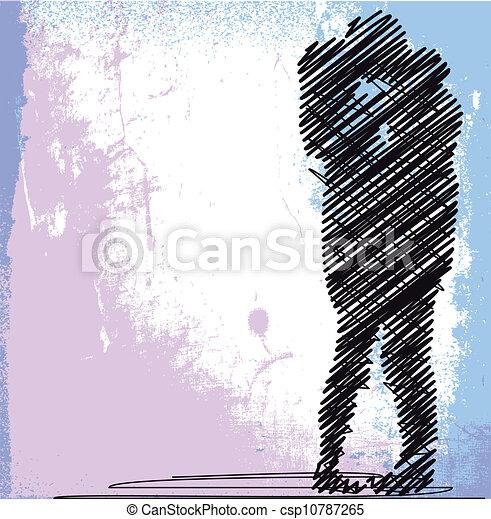 croquis, couple, illustration, vecteur, kissing., résumé - csp10787265