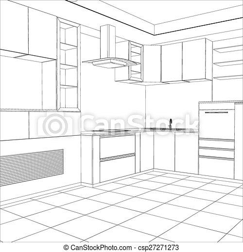 Croquis Créé Illustration Vecteur Interior Cuisine 3d
