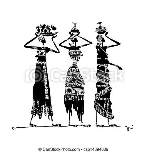 croquis, cruches, main, ethnique, dessiné, femmes - csp14394809