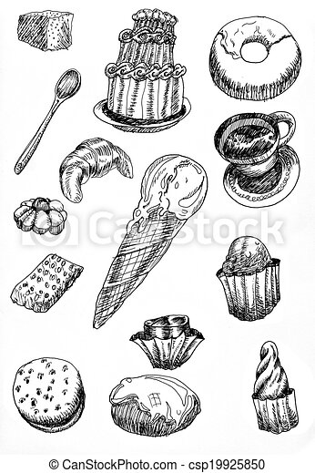 croquis dessin desserts main croquis ensemble main illustrations de stock. Black Bedroom Furniture Sets. Home Design Ideas