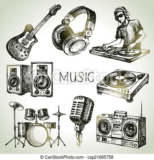 croquis, dj, icônes, set., main, vecteur, musique, illustrations, dessiné - csp21665758