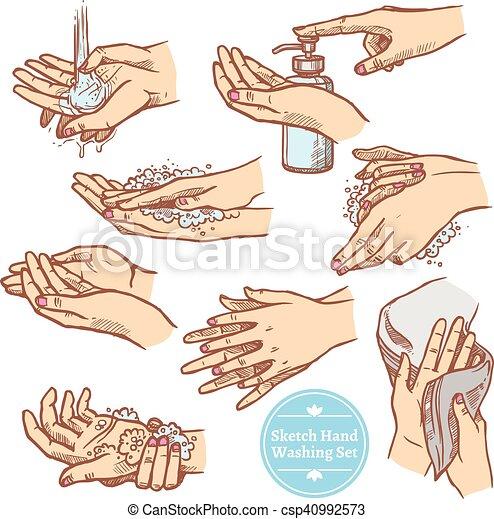 Croquis ensemble lavage hygi ne mains rincer croquis - Coloriage lavage des mains ...