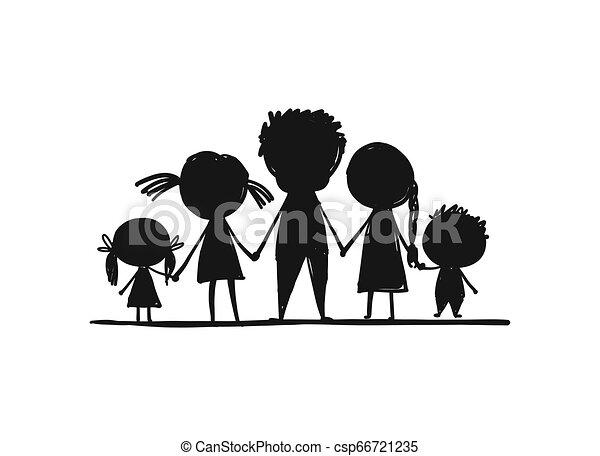 croquis, famille, conception, ensemble, ton, heureux - csp66721235