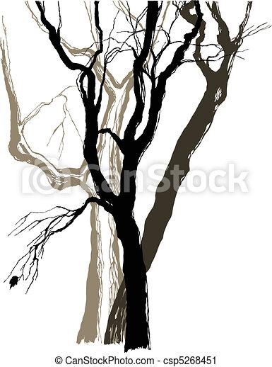 Croquis graphique vieux dessin arbres clipart - Croquis arbre ...