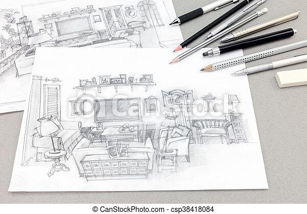 Croquis, gris, hand-drawn, intérieur maison, table, outils, dessin ...