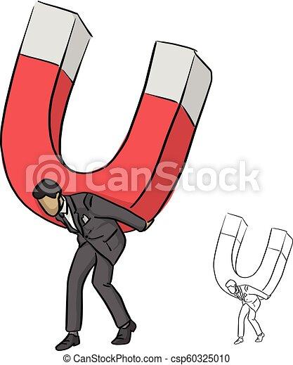 croquis, homme affaires, business, grand, concept., lignes, isolé, illustration, main, aimant, arrière-plan., vecteur, noir, tenue, complet, dessiné, blanc, griffonnage - csp60325010