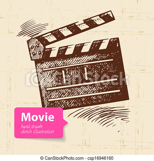 croquis, illustration., film, main, fond, dessiné - csp16946160