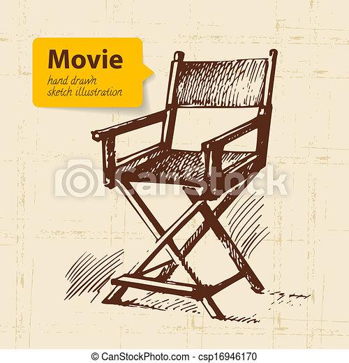croquis, illustration., film, main, fond, dessiné - csp16946170