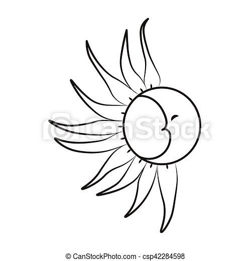 Croquis Illustration Soleil Lune Arrière Plan Vecteur Blanc Tatouage