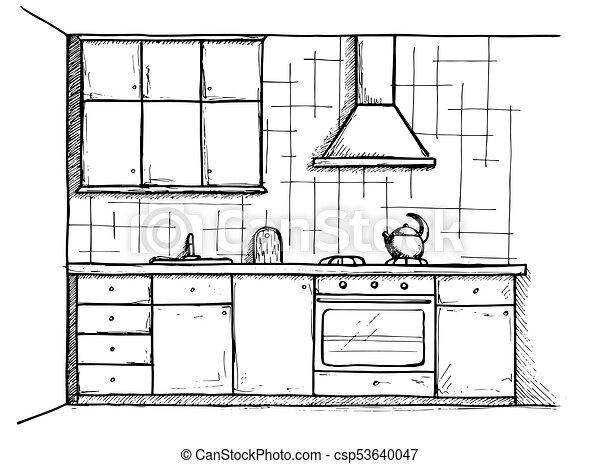 Croquis Illustration Vecteur Cuisine Plan Ligne Style