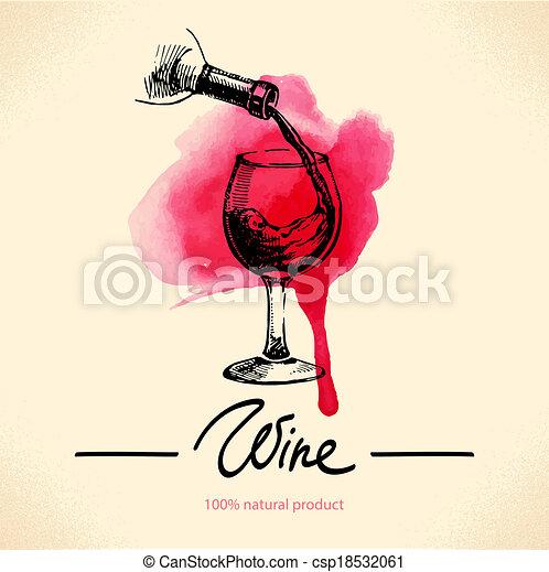 croquis, illustration., vendange, main, aquarelle, arrière-plan., conception, menu, dessiné, vin - csp18532061