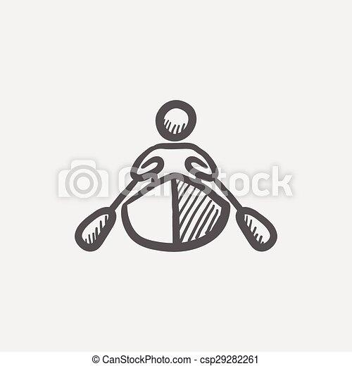 croquis, kayaking, homme, icône - csp29282261
