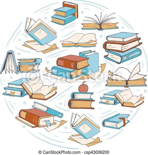 Croquis Livres Griffonnage Dessin Club Vecteur Logo Livre Bibliotheque