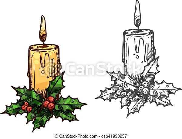 Croquis lumi re feuilles arbre bougie houx no l - Croquis arbre ...
