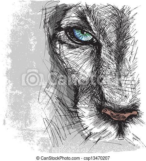 croquis, main, regarder, lion, appareil photo, dessiné, attentivement - csp13470207