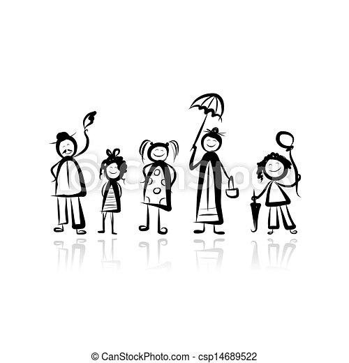 croquis, marche, conception, ton, famille - csp14689522