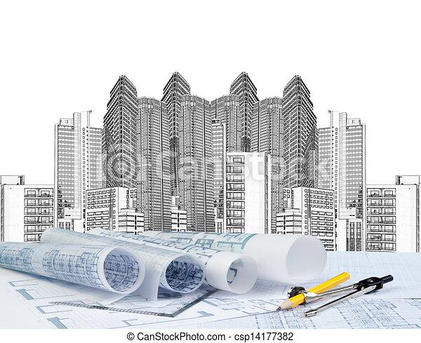 croquis mise point, architecte, fonctionnement - csp14177382