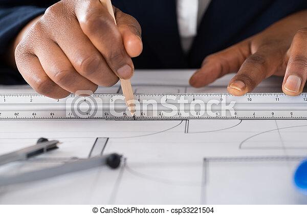 croquis mise point, main, dessin, personne - csp33221504