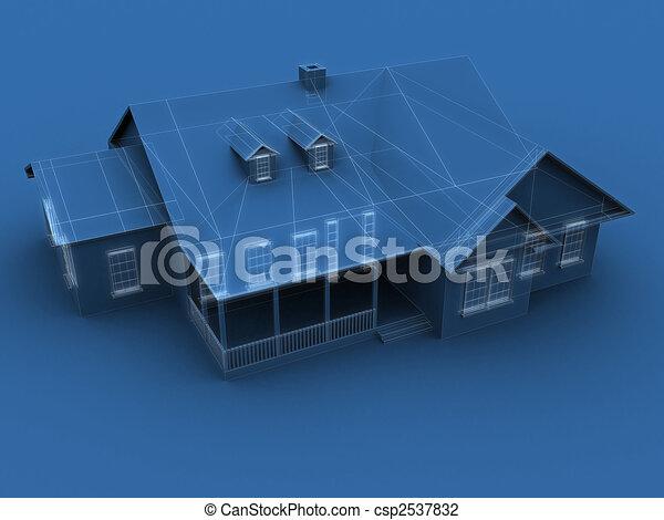 croquis mise point, maison - csp2537832