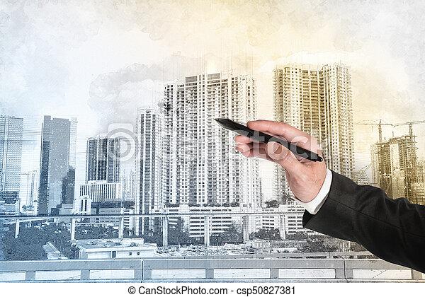 croquis, moderne, architecte, homme affaires, maison, dessin