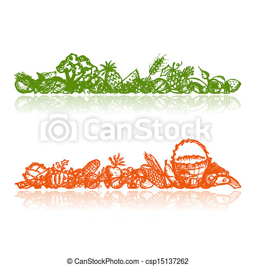 croquis, nourriture saine, fond, conception, ton - csp15137262