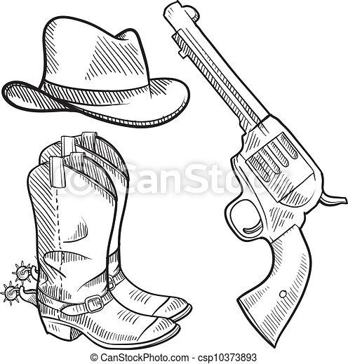 croquis, objets, cow-boy - csp10373893