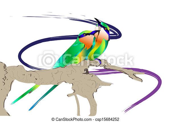 Croquis Oiseau Oiseau Branche Arbre Croquis Graphique Peint