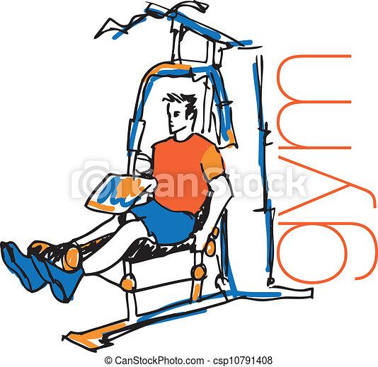 croquis, pulldown, illustration, machine, gym., vecteur, utilisation, homme - csp10791408